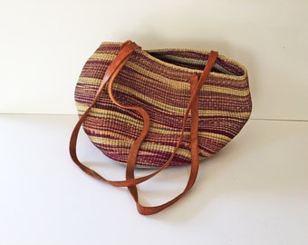 Handmade Woven Bag with Leather Straps