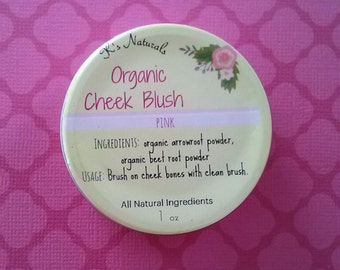 Organic Cheek Blush - Pink -  1 oz tin