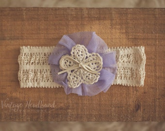 Chrysanthemum Lavender Baby Headband. Lavender Baby Headband. Purple Floral Lace Baby Headband. Baby Lavender Tulle Headband. Lavender Prop