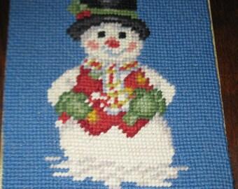 Vintage finished needlepoint. Snowman.