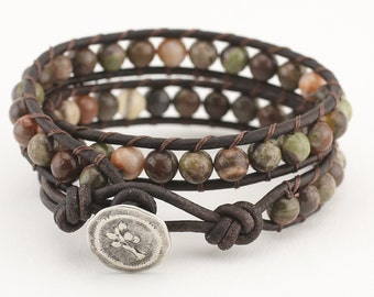 Rainforest Agate leather wrap bracelet wrap beaded bracelet leather bracelet beaded bracelet women bracelet wrap leather bracelet boho