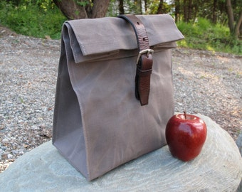 Waxed Canvas Lunch Bag, Reusable Lunch Bag