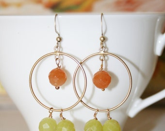 Orange and Lime Green Quartz Beads Circle Earrings