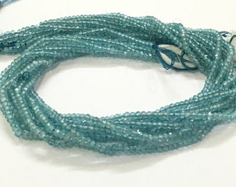 Exclusive Quality Aqua Apatite Micro faceted Roundell 2.50 mm approx , 14 inch strand