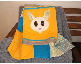 Rabbit baby quilt - playmat - baby gift - baby shower