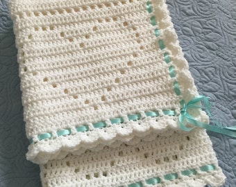 Crochet heart baby blanket/afghan boy/girl white with satin ribbon