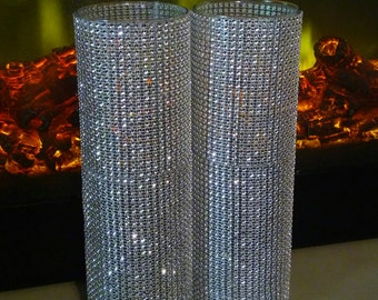 "Set of 4-10.5"" Glass Cylinder Vase w/Bling Decor"