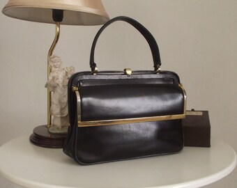 1950s Leather Handbag/ Black leather purse/ 50s leather bag