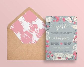 DIY PRINTABLE Envelope Liner | A7 Envelope Wedding Baby Shower Printable | Instant Download | Pink Envelope Liner | Brush Strokes | Abigail