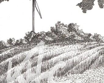 Original Pen and Ink Drawing Windturbine Landscape
