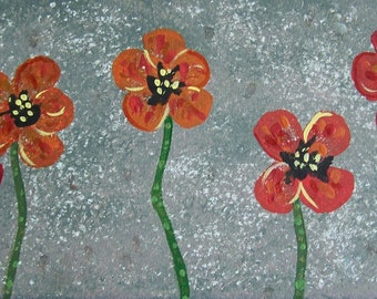 SALE,Original Red Poppy Painting, Poppies Painting, Acrylic Poppies Painting, 7x14 Canvas