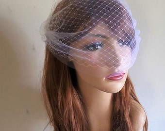 Bridal Birdcage Veil - Double layer tulle and russian netting - Blusher Veil