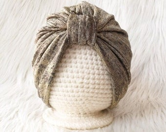 Turban- Gold Hatchi Knit- Baby Turban- Toddler Turban- Child's Turban- Women's Turban- Headwear- Boho Gypsy- Mommy & Me