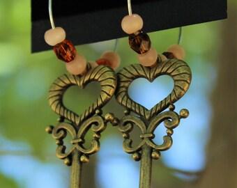 Handmade hooped key earrings.