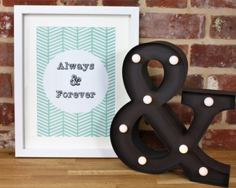 Quote Picture, Geometric, Tribal Design, Quote Print, Turquoise, Always and Forever