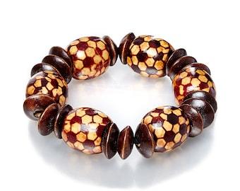 Crowned Elegance Chunky Wood/Beaded Bracelet