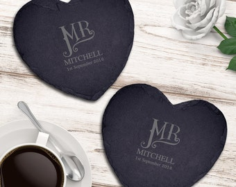 Personalised Dotty Mr and Mr Slate Heart Coaster Set
