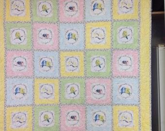 Baby bird cot quilt