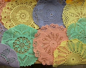 Crochet doilies in various shapes and colors