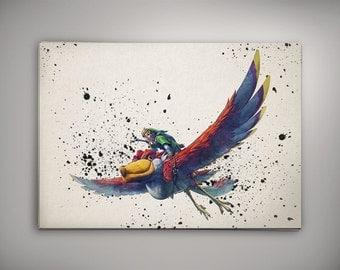 Link, Legend of Zelda Watercolor, The Legend of Zelda Room Decor, Legend of Zelda Print, Zelda Watercolor,Legend of ZeldaArt