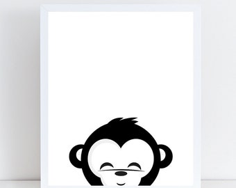 Monkey Print, Kids Room, Nursury Decor, Instant Download, Printable Art, Black White, Nursery Print, Wall Decor, Modern Print, Animal Print