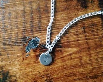Silver monogram hand stamped necklace initial