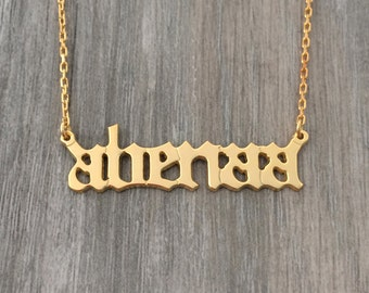 Name necklace, custom nameplate necklace, custom jewelry, yellow gold name necklace, old English style name necklace, nameplate, name jewels