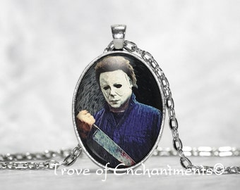 Halloween Michael Myers painting art Image oval glass pendant necklace w/rolo chain