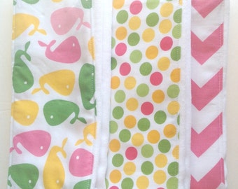 Baby Burp Cloths - Set of 3 -  Pink, Yellow, and Green Whales, Dots, and Chevron
