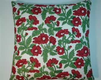 18 x 18  Wood Block Print,  Red Flower w/ Cream,  Pillow Cover