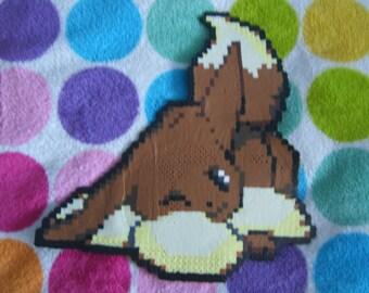 "Pokemon: Cute Winking Eevee Handmade Perler Bead Art 10"" x 9 3/4"""