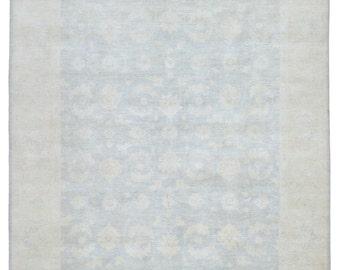Light Blue-Gray and Beige Large Pakistan Peshawar Oriental Rug 8X9'7