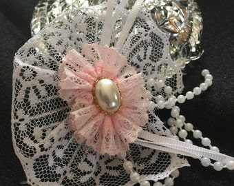 Lacy Hair Bow, ruffled hair bow, hair accessories, hair bow, pink hair bow, bridal hair bow, hair fashion, girls bow, woman's hair bow