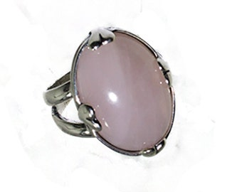 Rose Quartz and Sterling Silver Heart-shaped Accent Cabochon Ring