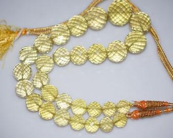"780 Cts.Beautiful Natural Lemon Quartz Round Faceted Beads Necklace-Lemon Quartz Round Faceted Necklace,11-22 mm,16""-NL103"
