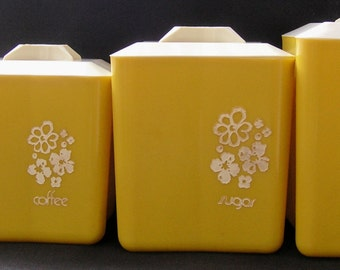 Vintage Mid Century Plastic Lustroware Yellow Canister