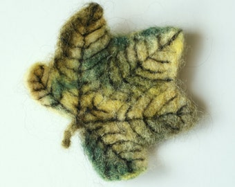 Sycamore Leaf Brooch **Needle-Felted Naturally-Dyed**