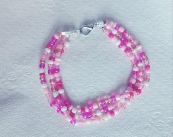 """7"""" Pink triple bracelet"""