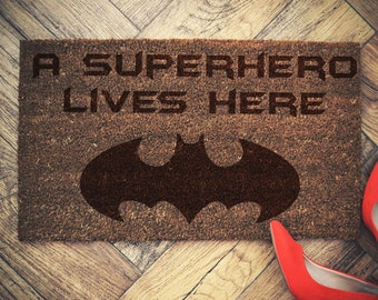 "Batman doormat coconut "" Superhero Lives Here"" door mat"