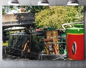 Camden Barge (barge) - draw on canvas varnish Premium canvas - Photo and creating Global Graphic Arts