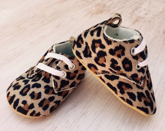 Leopard Print Lace Up Soft Shoe/Boot