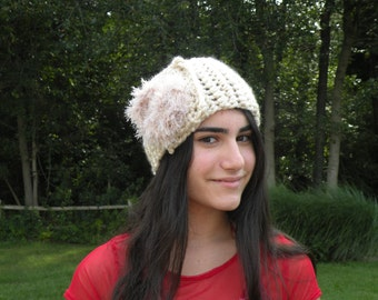 Crochet Headband, Wide Headband, Handmade Headband, Crochet Flower Headband, Winter Accessory, Ladies Fashion, Off White Headband, Earwarmer