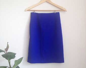Flattering Wool Pencil Skirt Blue Sz UK6-8