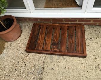 Rustic Oak Finish Reclaimed Wood Chunky Wooden Doormat