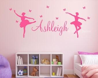 Ballerina & Butterflies Personalised Wall Art Sticker