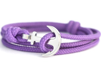 Anchor bracelet purple / silver