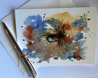 Watercolor Card, Flying, Hand Painted-5x7 Blank Card