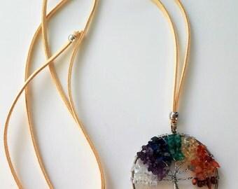 Seven chakras Necklace- Boho jewelry-Protection necklace - natural stones- Collar 7 Crakras- Collar árbol de la Vida- Tree of life necklace-