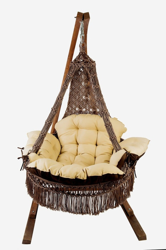 Items similar to macrame hammock chair on etsy for Macrame hanging chair