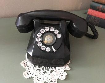 Vintage Rotary Telephone Black Bakelite, Monophone, Vintage Phone, Antique Bakelite Phone